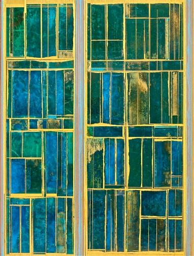 "Blue Desert 2015 24 x 18"" Acrylics and metal leaf on panel"