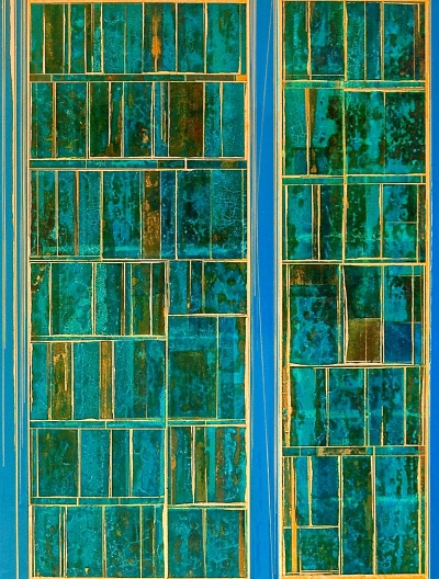 "Blue Desert No.2 2015 40 x 30"" Acrylics and metal leaf on panel"