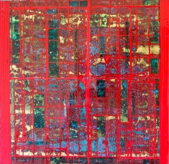 "Desert Blood 2 2015 12 x 12"" Acrylics and metal leaf on panel"