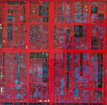 "Desert Blood 3 2015 12 x 12"" Acrylics and metal leaf on panel"