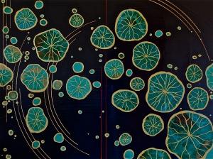 """Midnight Lotus 2015 36 x 48"""" Acrylics and metal leaf on panel"""