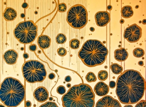"Sunset Lotus 2015 36 x 48"" Acrylics and metal leaf on panel"